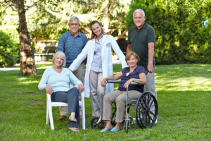 group of seniors with a doctor